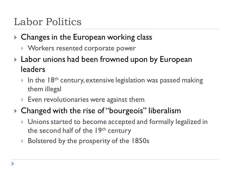 Labor Politics Changes in the European working class