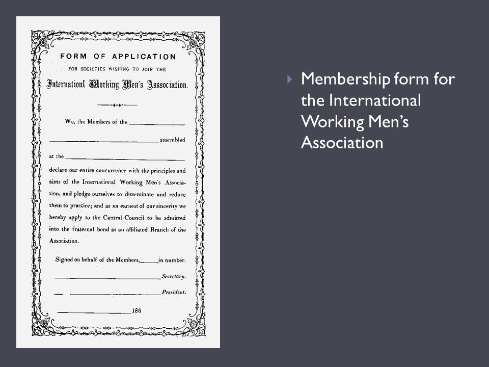 Membership form for the International Working Men's Association
