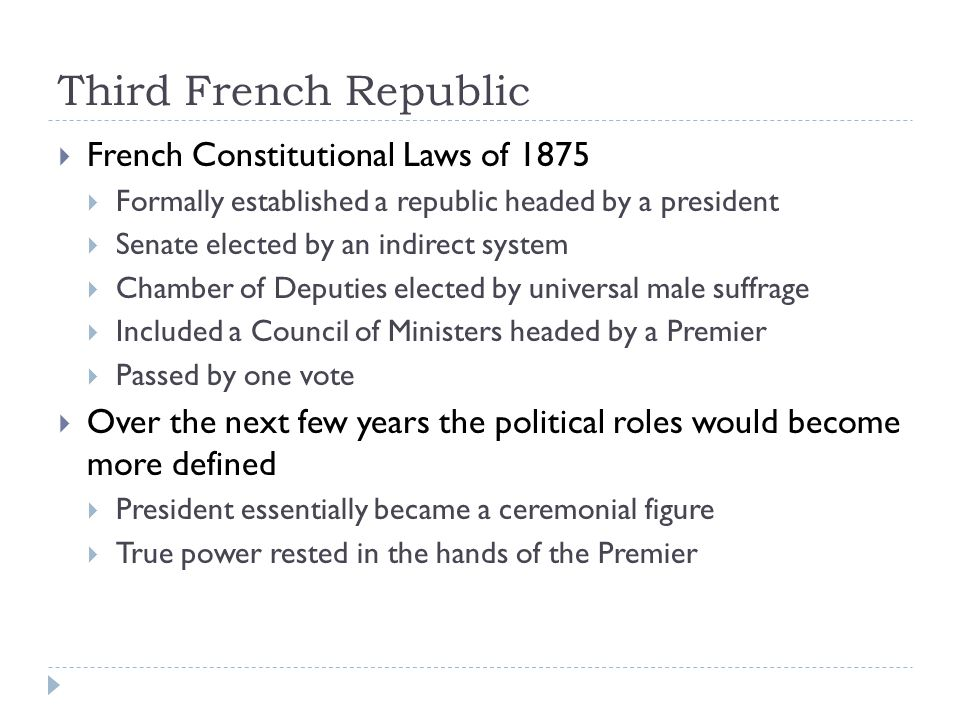 Third French Republic French Constitutional Laws of 1875
