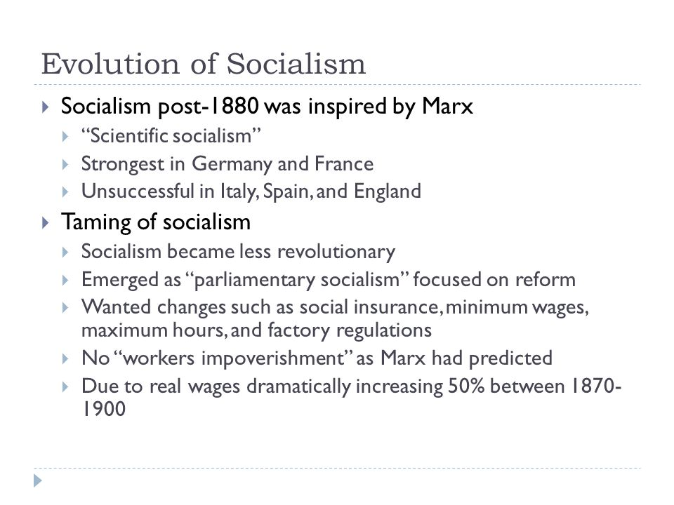 Evolution of Socialism
