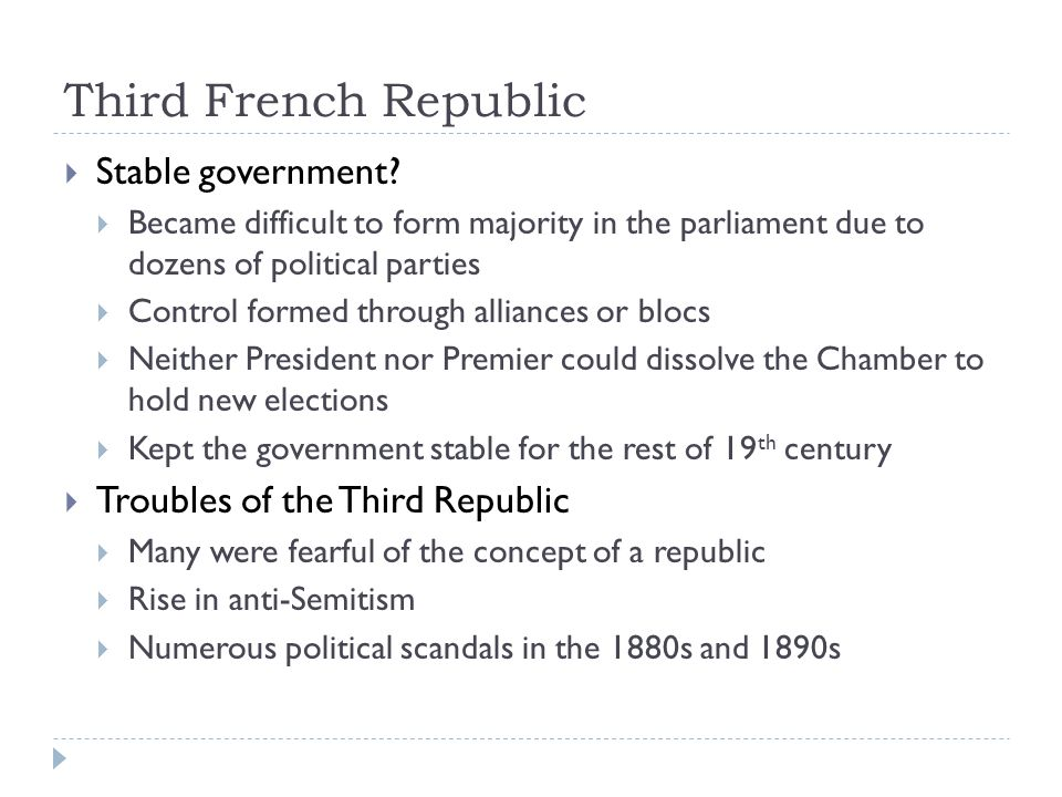 Third French Republic Stable government