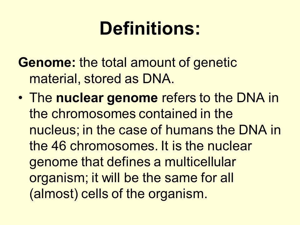 Definitions: Genome: the total amount of genetic material, stored as DNA.