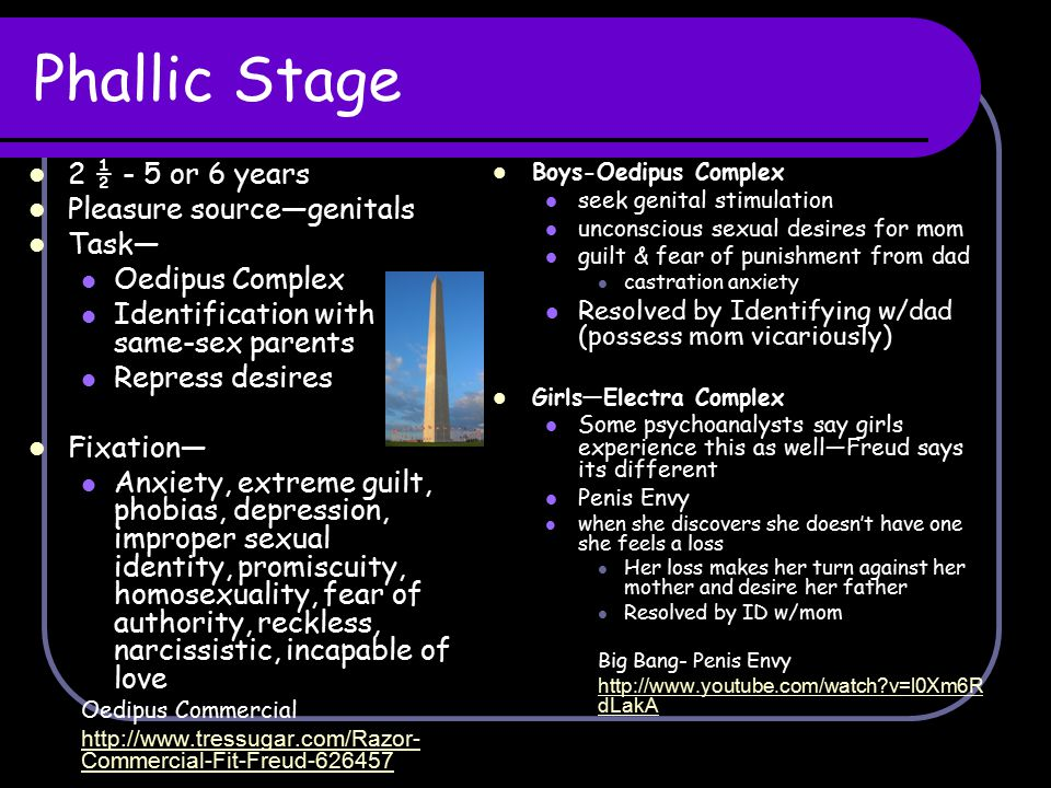 Phallic Stage 2 ½ - 5 or 6 years Pleasure source—genitals Task—
