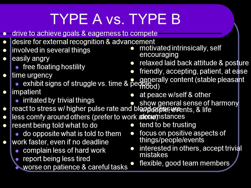 TYPE A vs. TYPE B drive to achieve goals & eagerness to compete