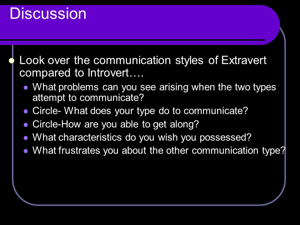 Discussion Look over the communication styles of Extravert compared to Introvert….