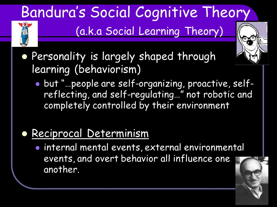 Bandura's Social Cognitive Theory (a.k.a Social Learning Theory)