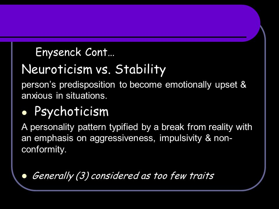 Neuroticism vs. Stability