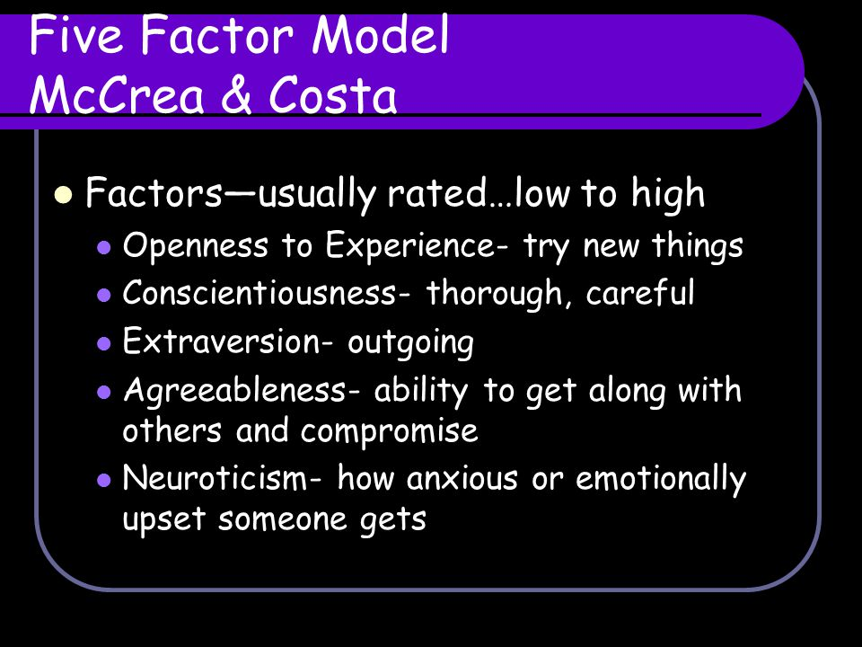 Five Factor Model McCrea & Costa