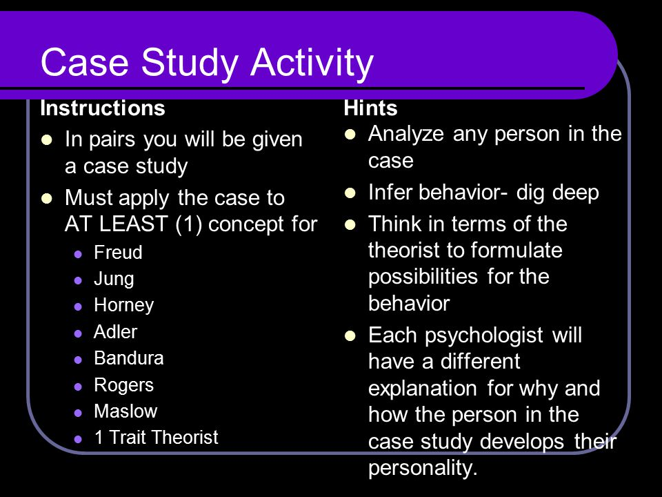 Case Study Activity Instructions Hints Analyze any person in the case