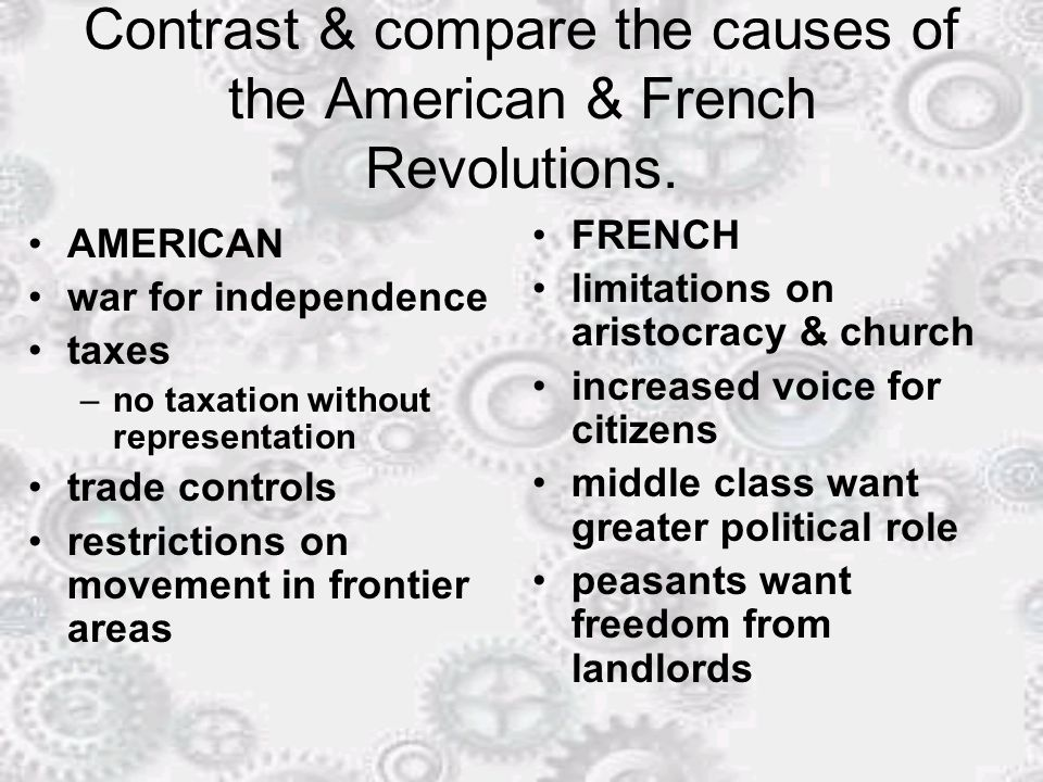 french and american revolution compare and contrast essay Although both led to the establishment of new governments, there are differences between the american revolution and the french revolution compare the american and french revolution cause and effect in the french revolution explore q.