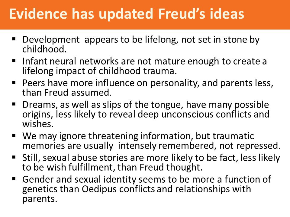 Evidence has updated Freud's ideas