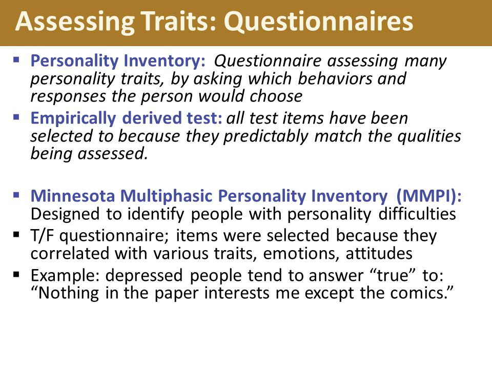 Assessing Traits: Questionnaires