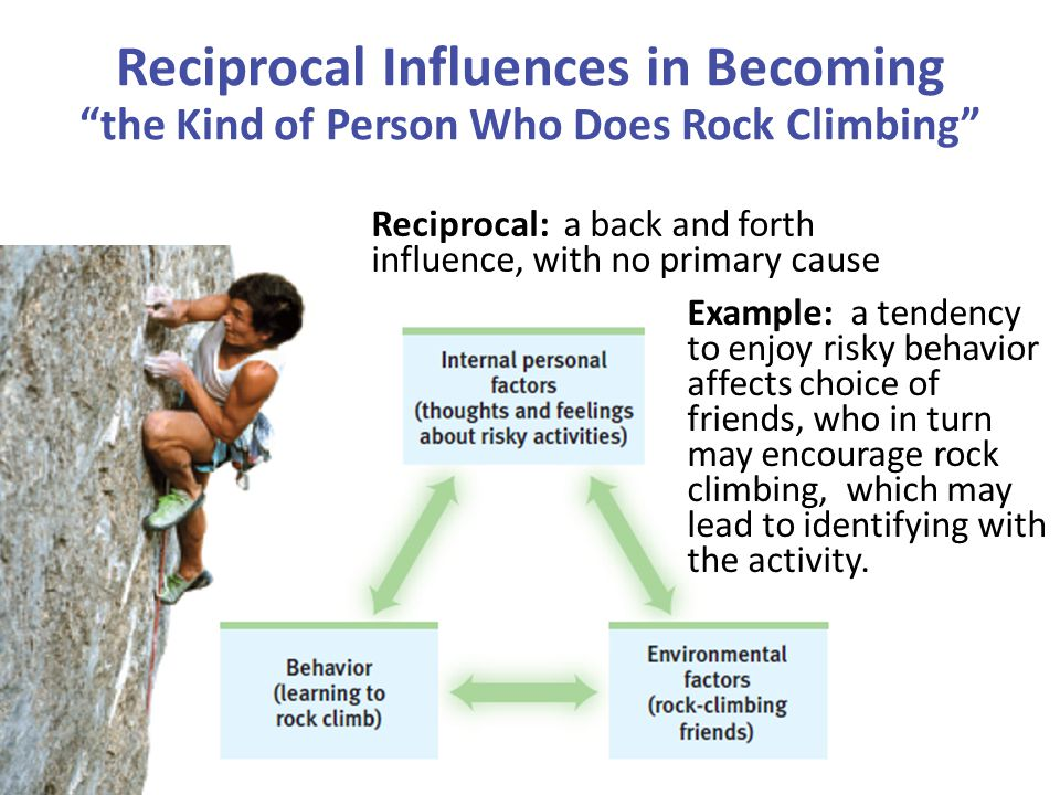 Reciprocal: a back and forth influence, with no primary cause