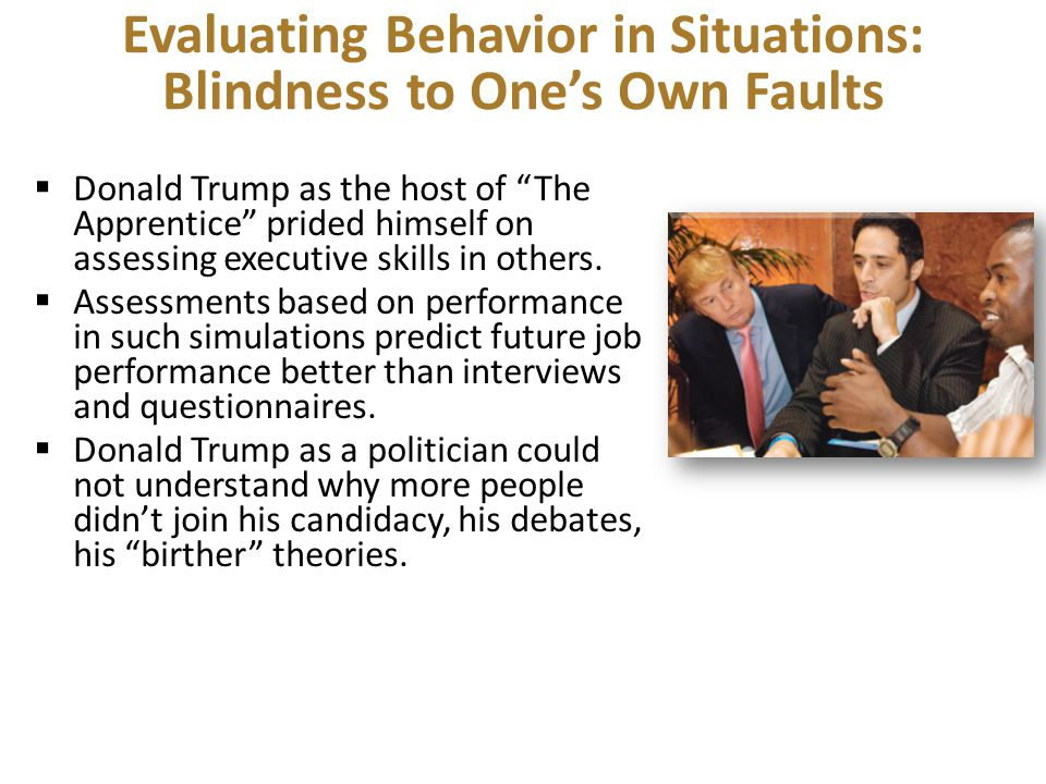 Evaluating Behavior in Situations: Blindness to One's Own Faults