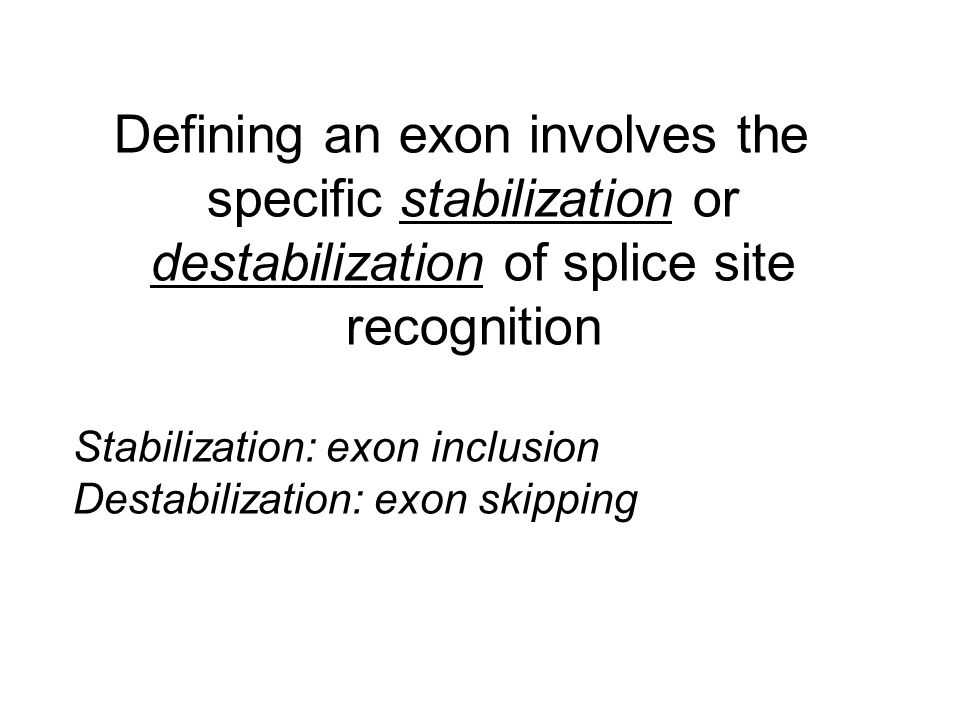 Defining an exon involves the specific stabilization or destabilization of splice site recognition