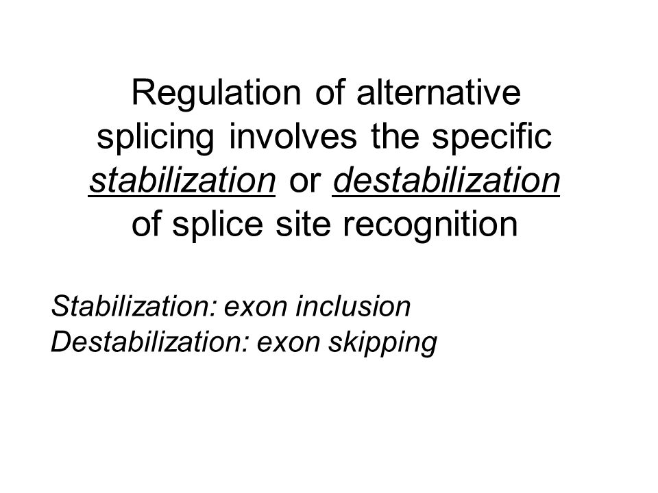 Regulation of alternative splicing involves the specific stabilization or destabilization of splice site recognition
