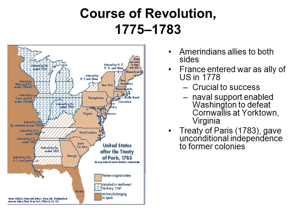 Course of Revolution, 1775–1783 Amerindians allies to both sides