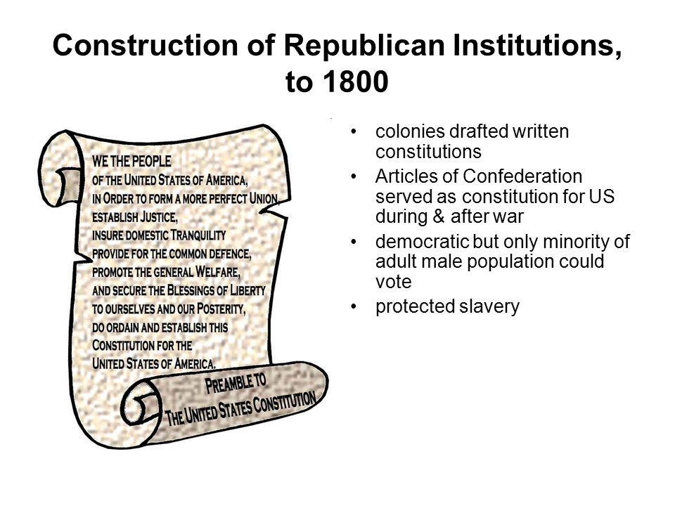 Construction of Republican Institutions, to 1800