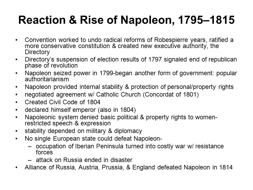 Reaction & Rise of Napoleon, 1795–1815