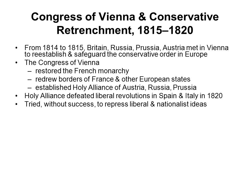Congress of Vienna & Conservative Retrenchment, 1815–1820