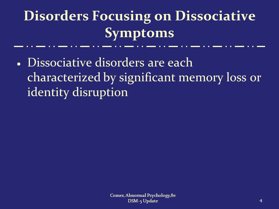 Disorders Focusing on Dissociative Symptoms