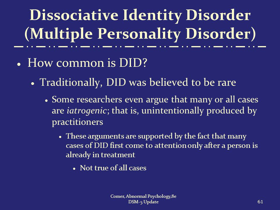 Dissociative Identity Disorder Multiple Personality Disorder on Dsm Psychology