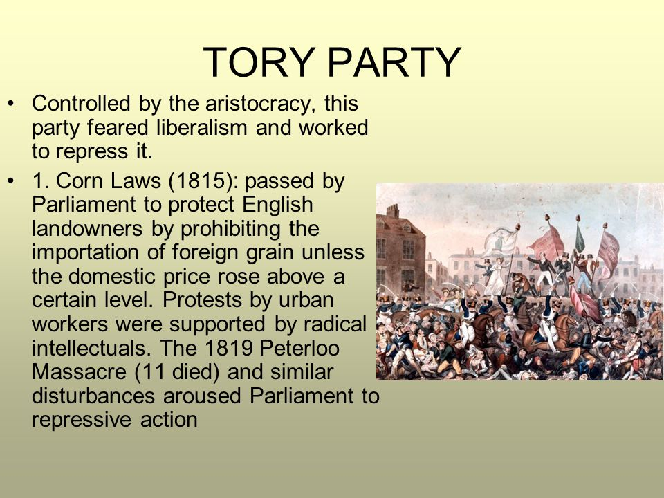TORY PARTY Controlled by the aristocracy, this party feared liberalism and worked to repress it.
