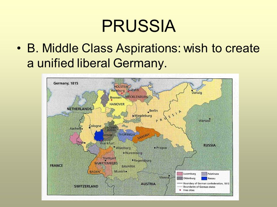 PRUSSIA B. Middle Class Aspirations: wish to create a unified liberal Germany.