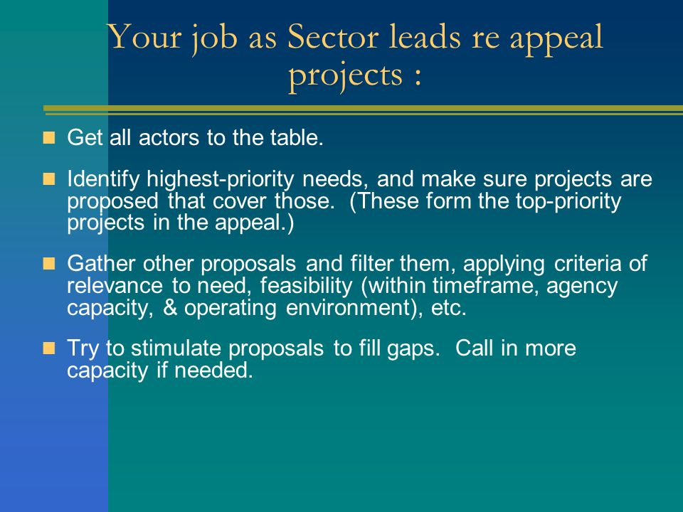 Your job as Sector leads re appeal projects :