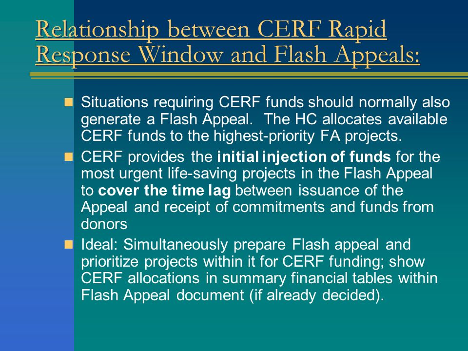 Relationship between CERF Rapid Response Window and Flash Appeals: