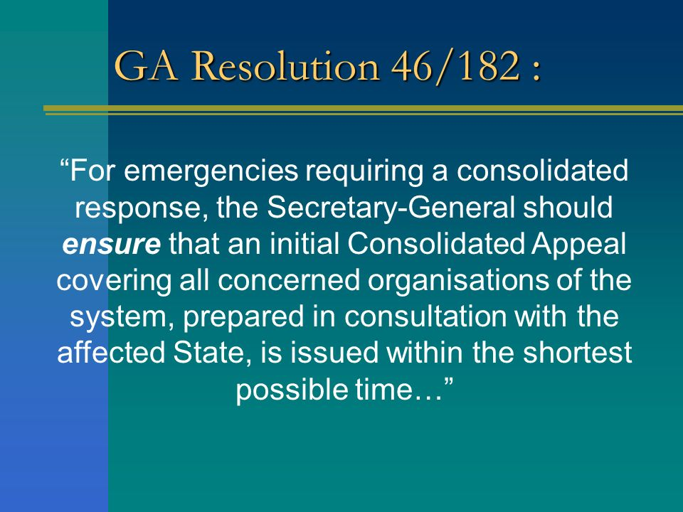 GA Resolution 46/182 :