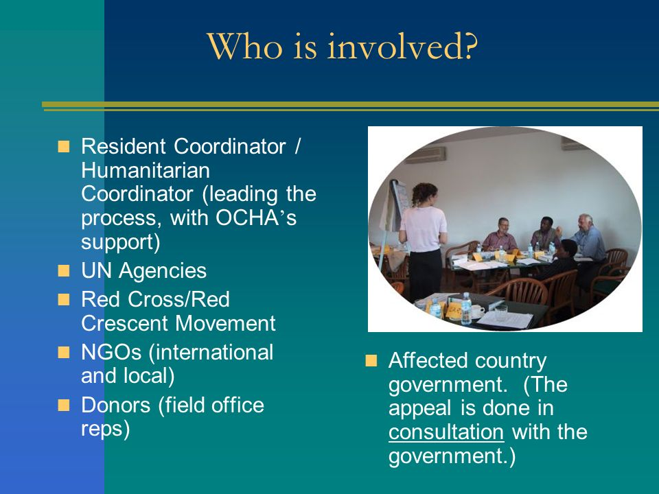 Who is involved Resident Coordinator / Humanitarian Coordinator (leading the process, with OCHA's support)