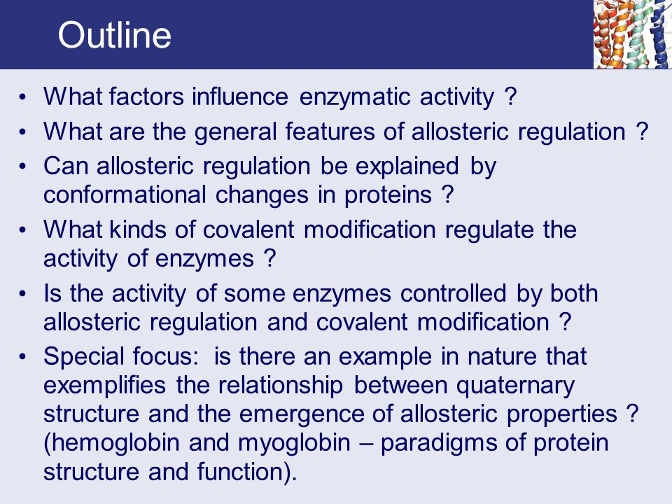 Outline What factors influence enzymatic activity