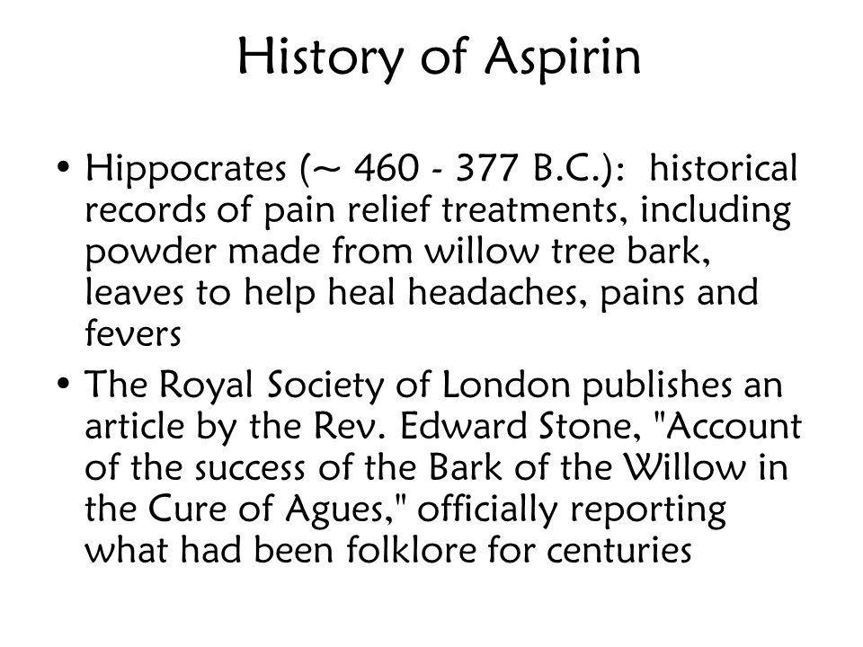 History of Aspirin