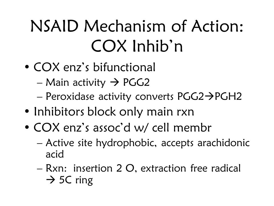 NSAID Mechanism of Action: COX Inhib'n
