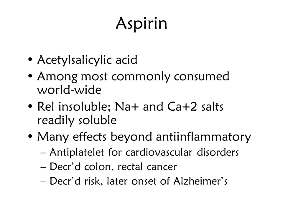 Aspirin Acetylsalicylic acid Among most commonly consumed world-wide