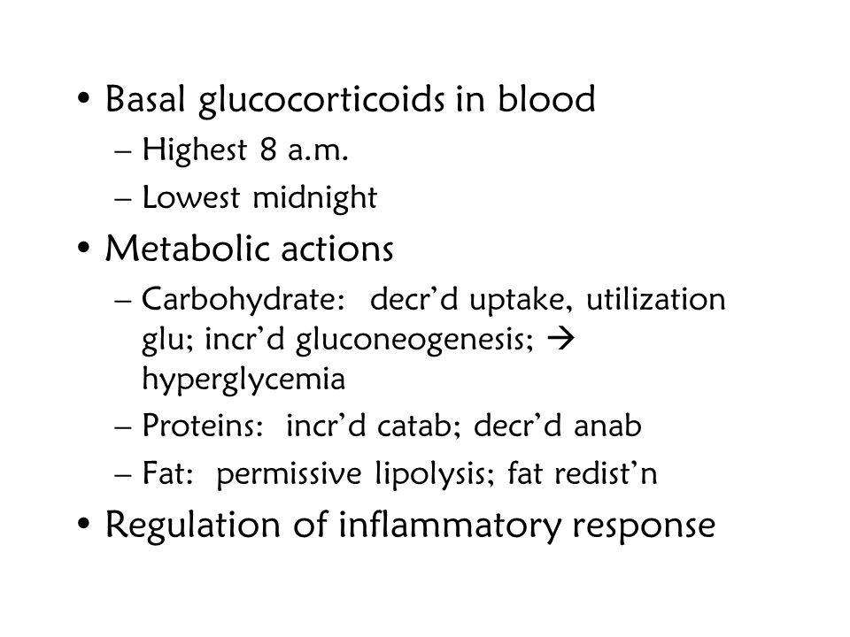 Basal glucocorticoids in blood