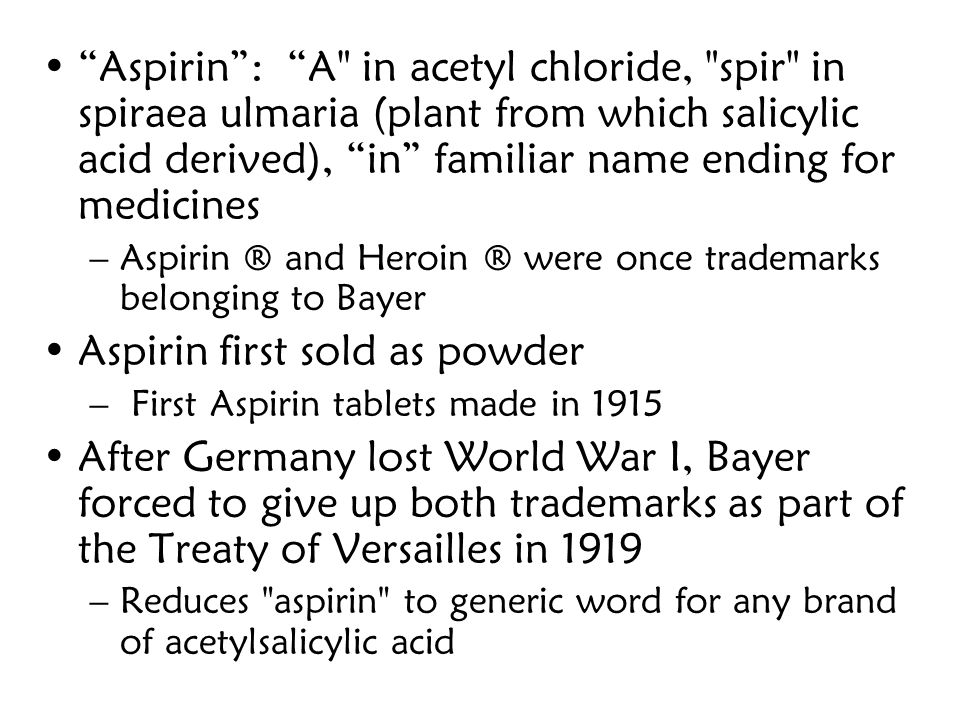Aspirin first sold as powder