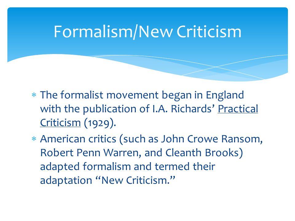 Formalism/New Criticism