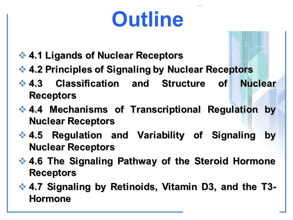 Outline 4.1 Ligands of Nuclear Receptors