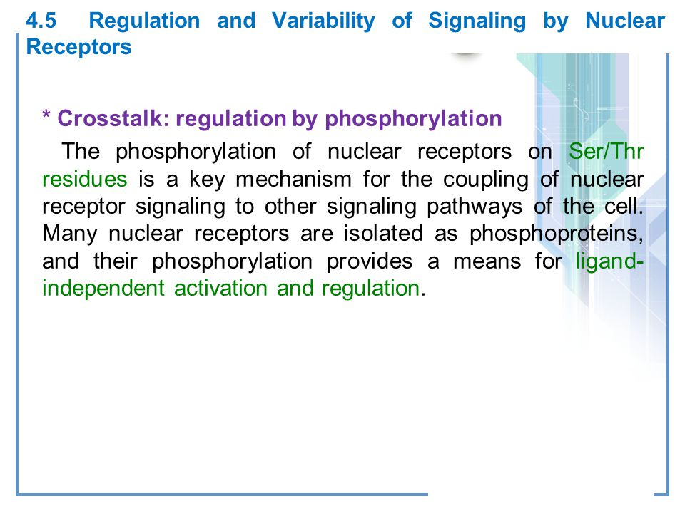 4.5 Regulation and Variability of Signaling by Nuclear Receptors