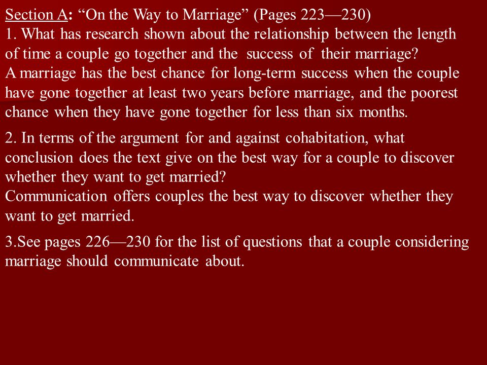 Section A: On the Way to Marriage (Pages 223—230)