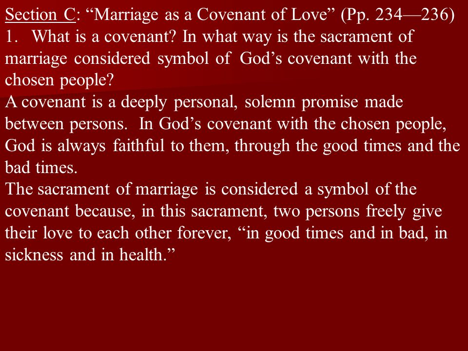 Section C: Marriage as a Covenant of Love (Pp. 234—236)