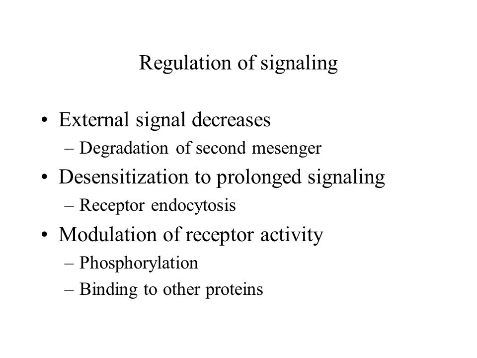 Regulation of signaling