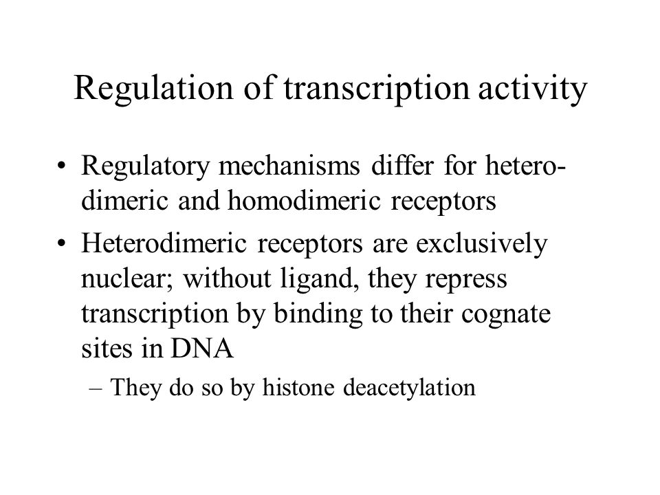 Regulation of transcription activity