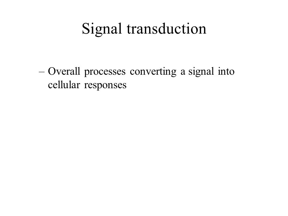 Signal transduction Overall processes converting a signal into cellular responses