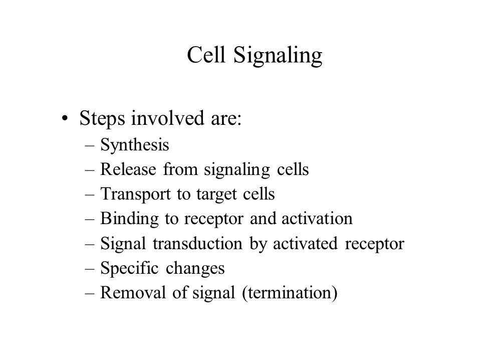 Cell Signaling Steps involved are: Synthesis