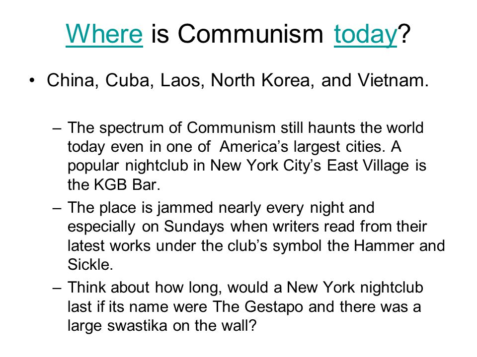 Where is Communism today
