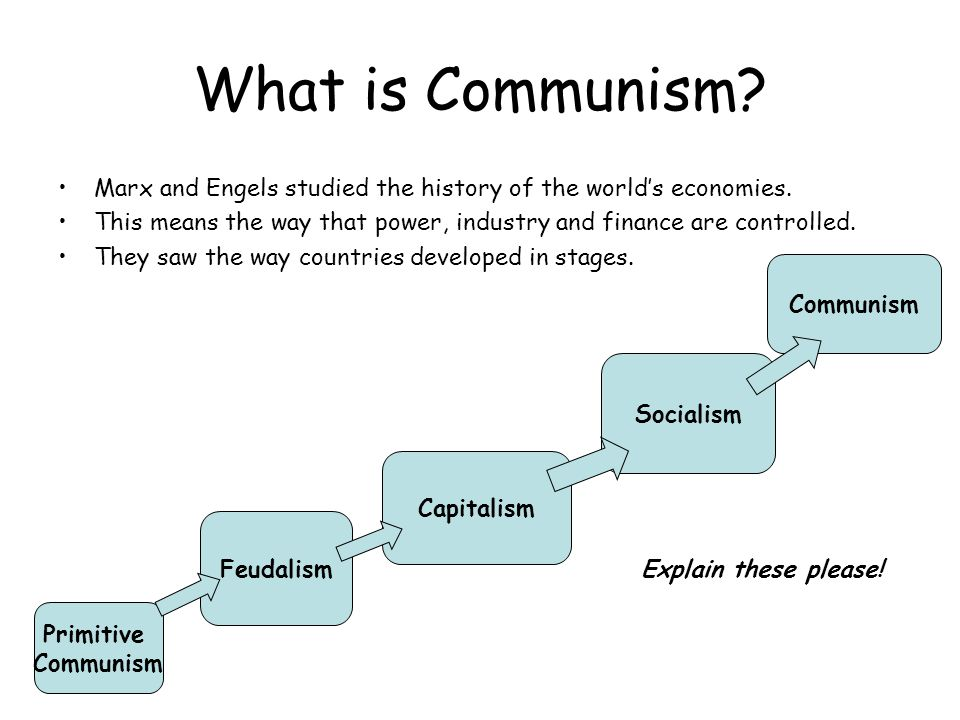 What is Communism Marx and Engels studied the history of the world's economies. This means the way that power, industry and finance are controlled.