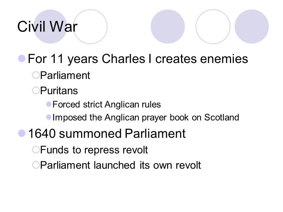 Civil War For 11 years Charles I creates enemies